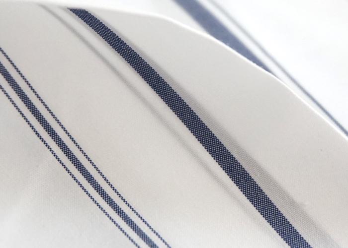 Squady (スカディ) ストライプ 変型スキッパー フレアーラインシャツ ホワイト系 レディース
