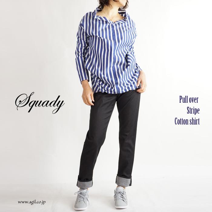 Squady (スカディ) タイプライターコットン プルオーバーストライプシャツ ネイビー系 レディース