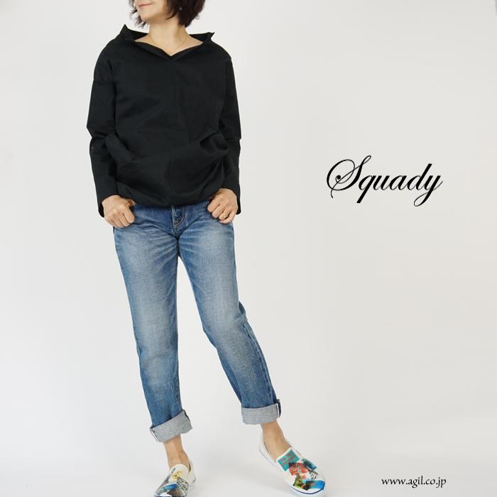 Squady (スカディ) コーティング天竺プルオーバーシャツ スキッパー 綿・コットンジャージィ レディース