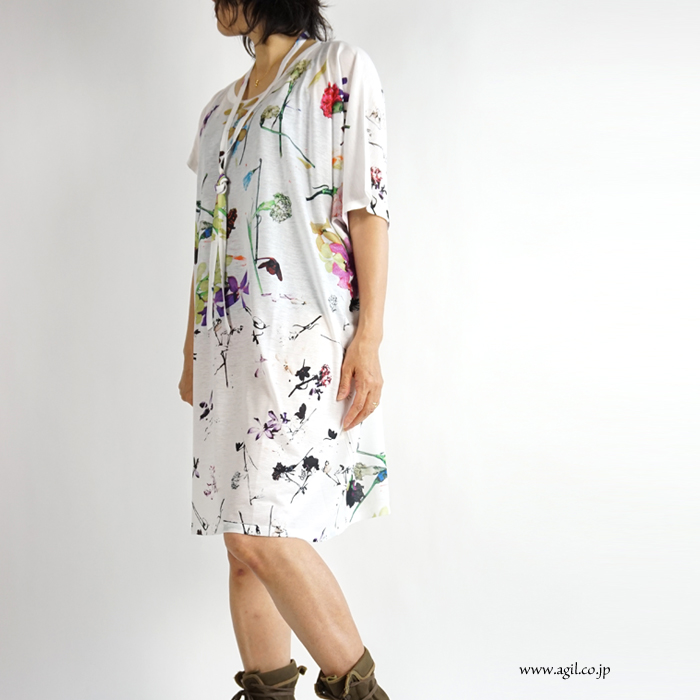 CILANDSIA(チランドシア) アシンメトリー プリント膝丈ワンピース チュニック ロングT 0077 0078 レディース メンズ