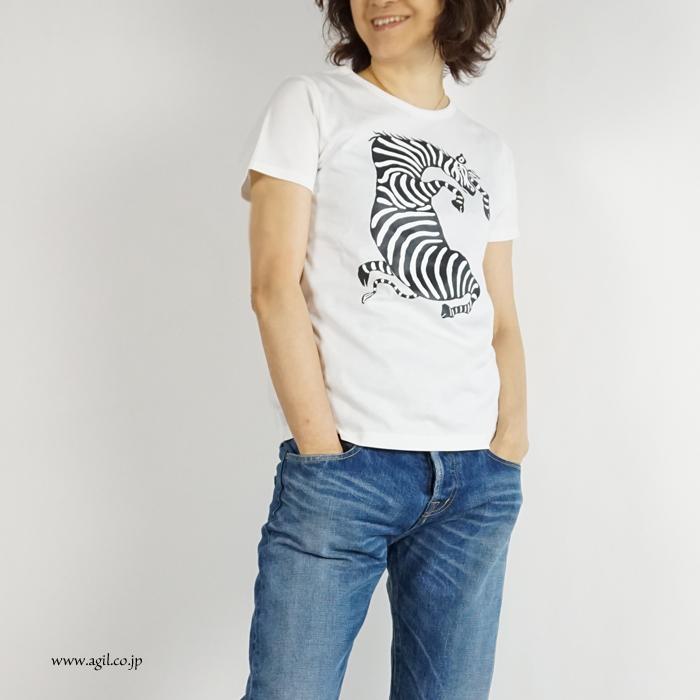 CONER plus (コーナープラス) しまうまプリント半袖Tシャツ ホワイト レディース