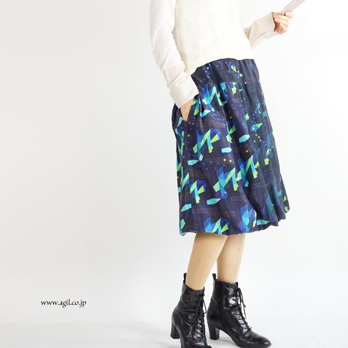 FERAL FLAIR (フィラルフレア) プリント バルーンスカート 膝丈 ミディ ミモレ丈 レディース