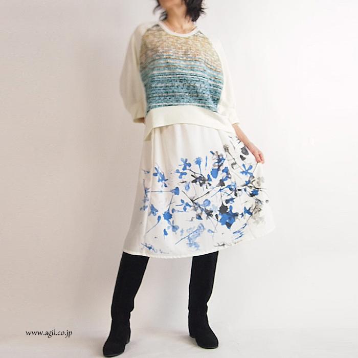 CILANDSIA(チランドシア) ひざ下ギャザースカート シルクスクリーンプリント レディース