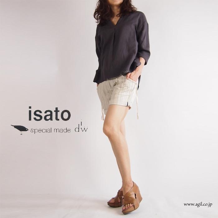 isato design works・イサトデザインワークス/綿 ロールアップ ショートパンツ(ヒッコリー/カーキ)