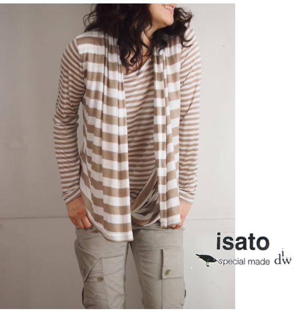 isato design works (イサト) 重ね着風 ボーダー長袖カットソー|ベージュ|レディース【送料無料】