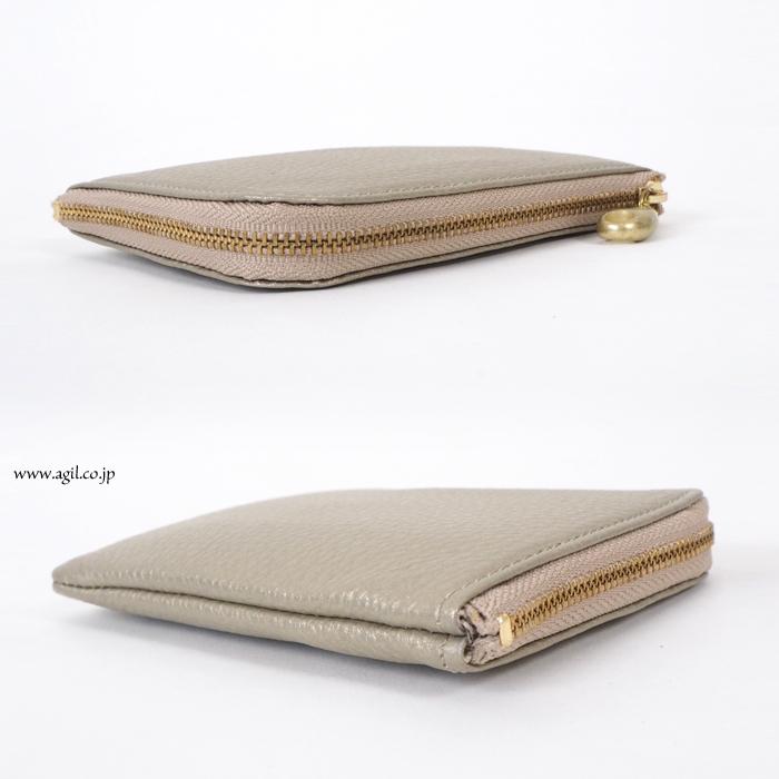 mononogu(もののぐ) L字ファスナー 牛革シボレザー財布|コインパース|薄型スリムサイフ|レディース・メンズ