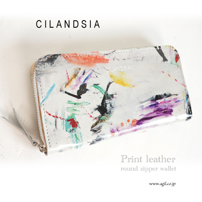 CILANDSIA(チランドシア) プリント牛革レザー ラウンドジッパー長財布 0032 メンズ レディース 送料無料