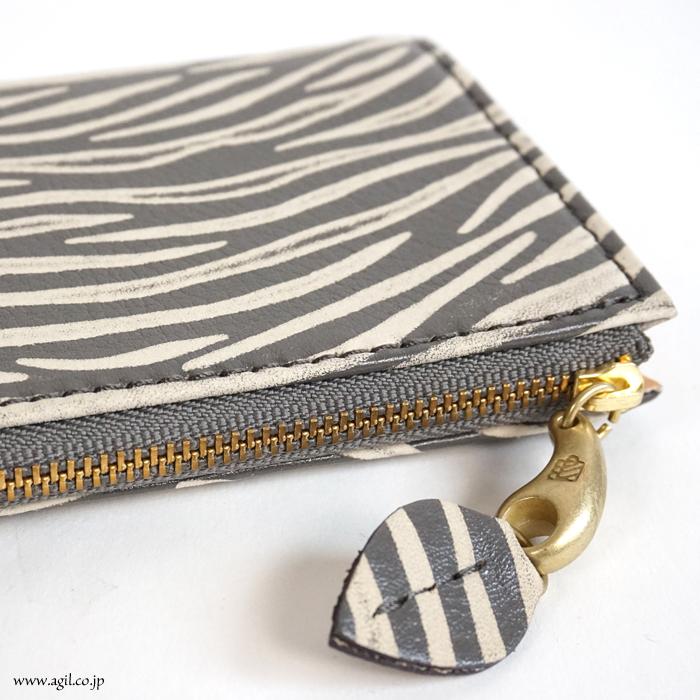 mononogu (もののぐ) 長財布 L字ファスナー 牛革レザー ゼブラ型押し 薄型スリム レディース メンズ 送料無料